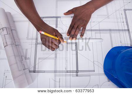 Draftsman Drawing Blueprint