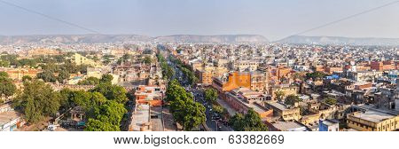 Panorama of aerial view of Jaipur  (Pink city) - Hawa Mahal (Palace of Winds