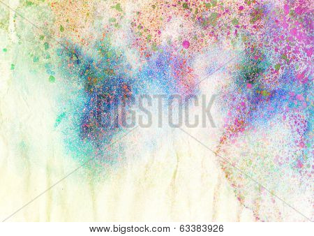 abstract ink painting with brush strokes and splatter - grunge background