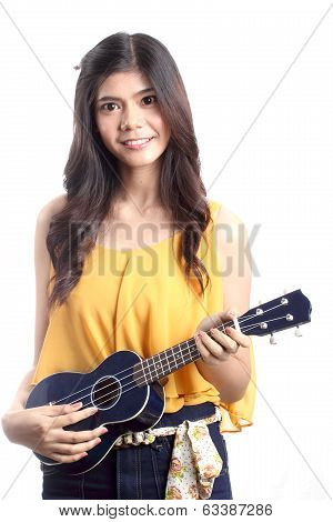 Cute Asian Woman Playing Ukulele