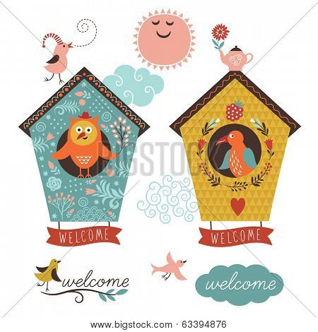 cute bird houses and welcome home lettering
