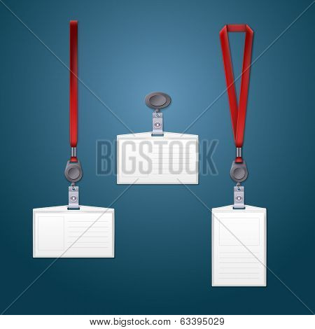 Lanyard retractor and badge. Templates for your design poster