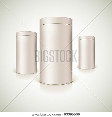 Set of round tins, packaging.