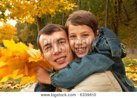 Smiling Father And Son