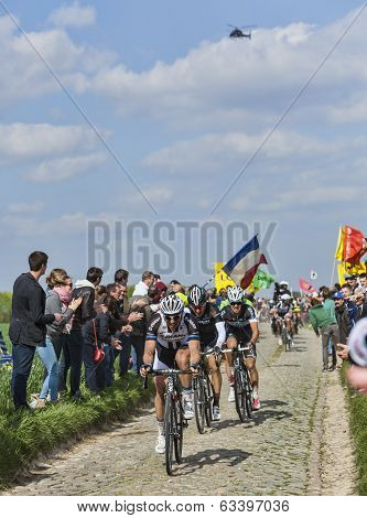 Group Of Three Cyclists- Paris-roubaix 2014