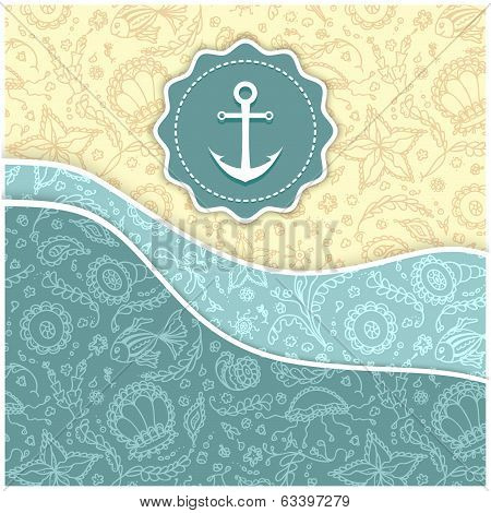 Background with abstract Seamless marine world patterns