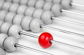 Abacus red bead closeup. Leadership concept. poster