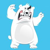 Funny aggressive cartoon white polar bear attacking by standing and showing teeth poster