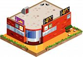Graphic of isometric mall. Isometric Series. Compose Your Own World Easily with Isometric Works. poster