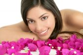 Beautiful indian woman portrait with bougainvilleas flowers over white poster