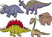 Cartoon Illustration of Dinosaurs and Prehistoric Animals Characters Set poster