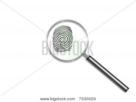 Magnifying glass over a finger print