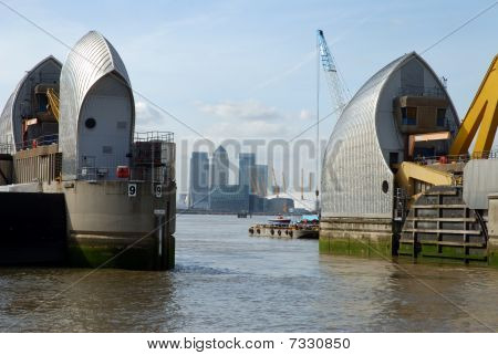 City of London and the Thames barrier