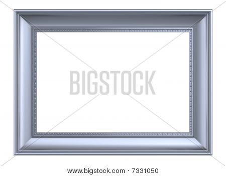 Silver rectangular frame isolated on white background