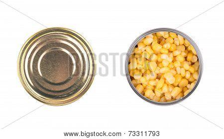 Fresh corn in can.