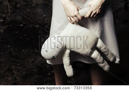 Horror Style Shot: Moppet Doll In Someone's Hands