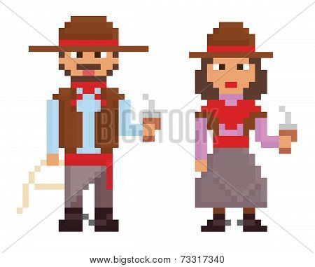 pixel art vintage style illustrations shows male and female argentinian gaucho