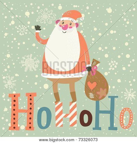 Funny Santa Claus with gifts on HoHoHo text in vector. Cute cartoon Christmas card in pastel colors. Childish background