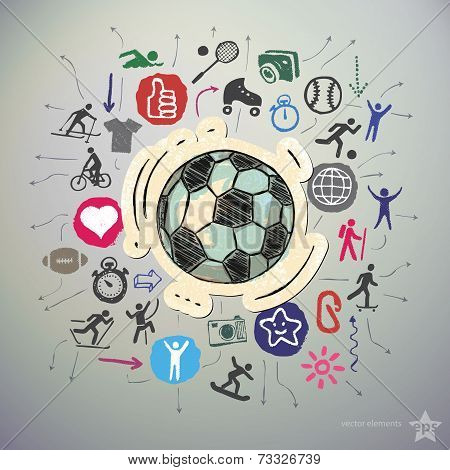 Hand drawn sport icons set and sticker with soccer ball