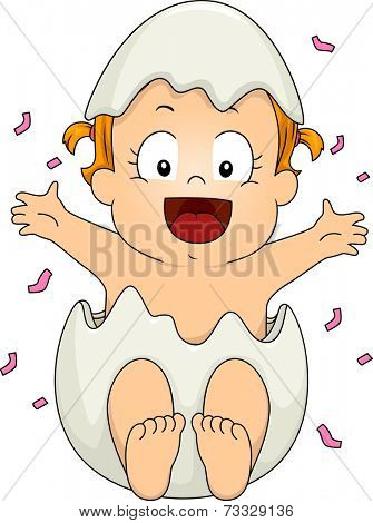 Illustration Featuring a Baby Girl wearing an Egg shell for Gender Reveal