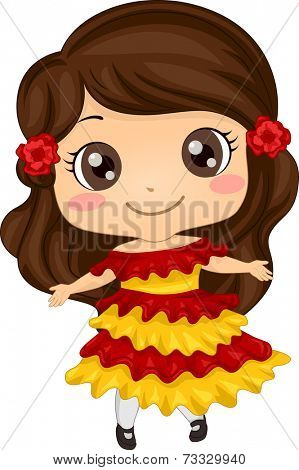 Illustration Featuring a Girl Wearing a Mexican Costume