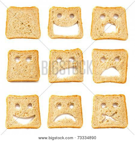 Toasted bread slices with funny faces