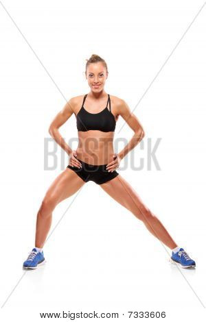 An attractive woman exercising