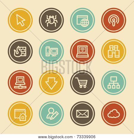 Internet  Web Icons, Color Circle Buttons