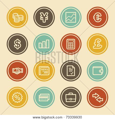 Finance Web Icons, Color Circle Buttons