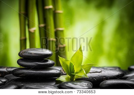 zen basalt stones and bamboo