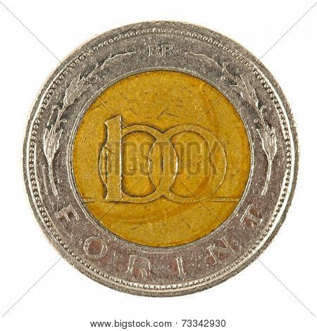 100 Hungarian forints coin on white background