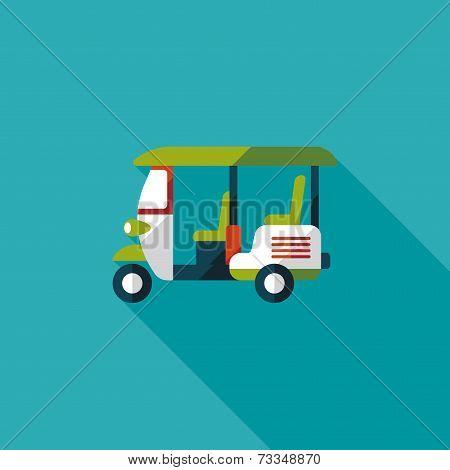Three Wheeled Motor Rickshaw, Flat Icon With Long Shadow