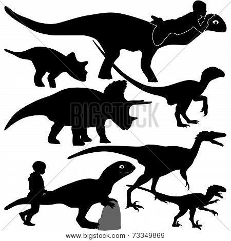 dinosaur and kid silhouette vector