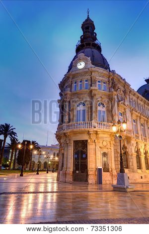 Ayuntamiento de Cartagena sunset city hall at Murcia Spain poster