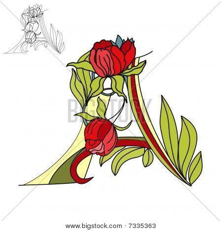 Floral font. Letter A