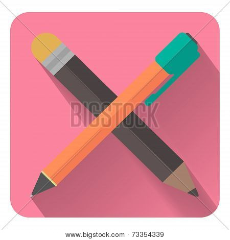 Flat Pencil And Pen Icon. Visual Thinking And Creation