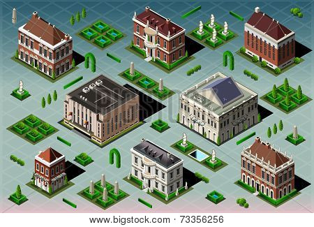 Isometric Historic American Building