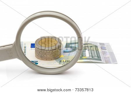 Euro Money Under Magnifying Glass