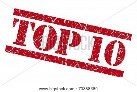 Top 10 Red Square Grunge Textured Isolated Stamp