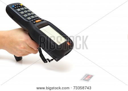 woman hold bar code scanner and scans with laser poster