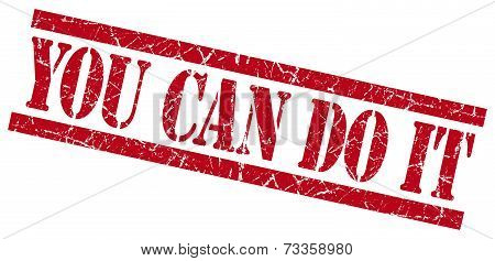 You Can Do It Red Square Grunge Textured Isolated Stamp