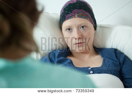 Close-up Of Ill With Leukemia Girl
