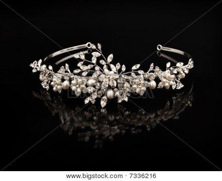 Diamond Diadem On A Black Background With Reflexion