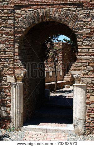 Column gate in Malaga castle.