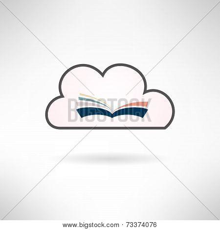 Book icon. Cloud library concept. Vector