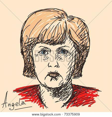 October 07, 2014 - Angela Merkel German politician. Hand drawn portrait, Vector illustration
