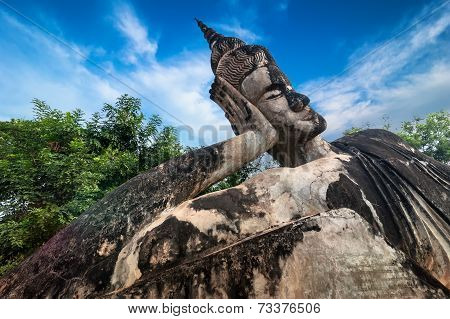Amazing view of mythology and religious statues at Wat Xieng Khuan Buddha park. Vientiane Laos poster