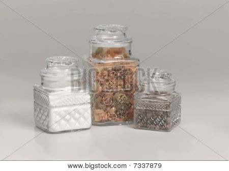 three glass kitchen storage containers