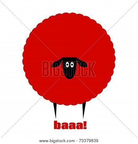 Red flat sheep saying baa