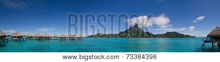 Mt. Otemanu and Overwater Bungalows in Bora Bora, French Polynesia